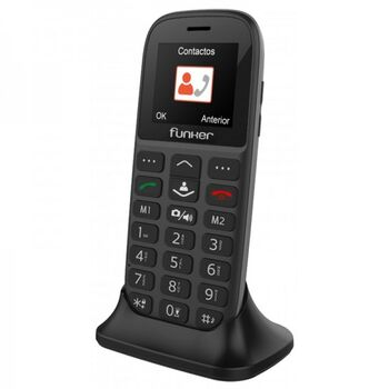TELEFONO MOVIL FUNKER C65 EASY PLUS CON BASE NEGRO