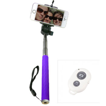 BASTON EXTENSIBLE SELFIE BLUETOOTH MOVIL MORADO