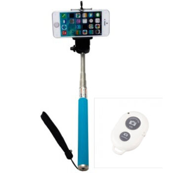 BASTON EXTENSIBLE SELFIE BLUETOOTH MOVIL AZUL