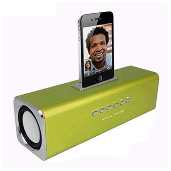 ALTAVOCES STEREO MP3 CUBE3 VERDE IPHONE 3 y 4.