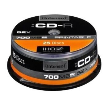 CD-R IMPRIMIBLES 52X INTENSO 700MB TARRINA 25 UDS.