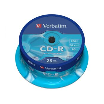 CD-R 52X VERBATIM 700MB TARRINA 25 UDS.