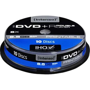 DVD+R DL DOBLE CAPA 8.5GB INTENSO 10U IMPRIMIBLES