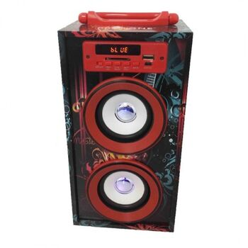 ALTAVOCES 28CM BLUETOOTH SD USB ROJO 2.0 10W