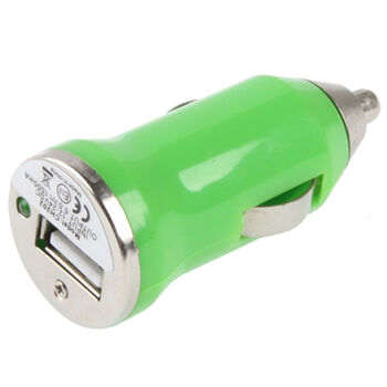 CARGADOR MECHERO COCHE USB IPAD IPHONE 5V 1A VERDE
