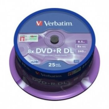 DVD+R DL DOBLE CAPA VERBATIM 8X 8.5GB 25U