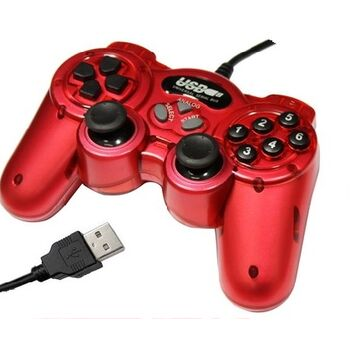MANDO PC Y PS3 USB DOUBLE SHOCK ROJO SATYCON