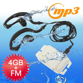 REPRODUCTOR MP3 FM 4GB RESISTENTE AL AGUA BLANCO